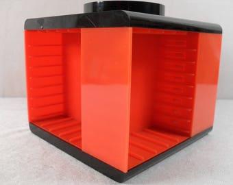 retro cassette tape holder case, vintage orange cassette tape holder box,cassette tape storage.music cassette caroussel
