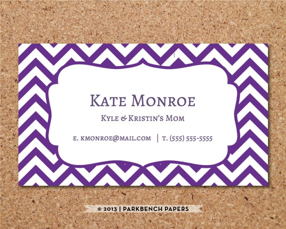 Business card template purple chevron diy editable word flashek Images