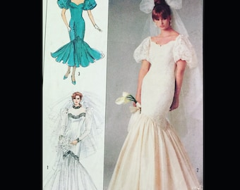 Vintage 80s Form Fitting Mermaid Trumpet Hem Wedding Quinceanera Bridesmaid Pageant Dress Gown Sewing Pattern 8425 B30 31