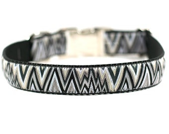 Black and Silver Chevron Dog Collar, Modern Dog Collar, Chevron Collar, Dog Accessories, Buckle Collar, Martingale, 1""