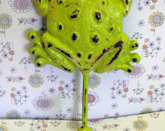 Frog Wall Hook Lime Green Cast Iron Boho Wall Decor Shabby Elegance Retro Funky Green Chippy Coat Jewelry Leash Scarf Hat Towel Keys Hook