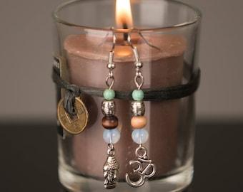 BUDDHA and OM Mix Match Namaste Earrings, Tranquility Earrings, Mantra Earrings, Buddhist Earrings, Yoga Dangle Earrings, Meditation Earring
