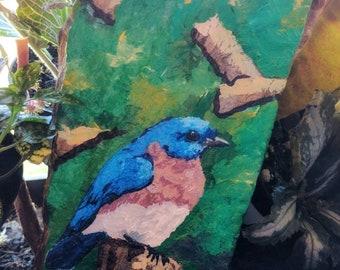 Bluebird Rock Painting - Collectable - Original Art - Acrylic