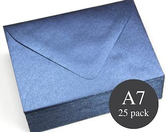 25 - A7 Navy Metallic Euro Flap Envelopes - 5 1/4 x 7 1/4 - Lapis Lazuli