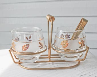 Vintage Mid Century Libbey Gold Leaf Foil Frost Cream and Sugar bowl Set In Carrier with Tongs