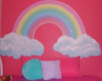 Rainbow Mural for Girls Room Walls