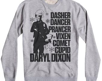 UNISEX WALKING DEAD Sweatshirt, Daryl Dixon Christmas Sweatshirt, Funny Daryl Dixon Sweater, Funny Walking Dead Sweatshirt, Crew Fleece