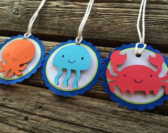 Under The Sea Gift Tags, Party Favors, First Birthday, Baby Shower, Birthday Party, Beach Party, Under the Sea Party