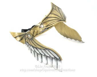 Viking, Valkyrie, Leather Crown, Thor Crown,  Circlet, Gold and Silver Inverse Winged Crown, Helmet, Cosplay, LARP, Role Play