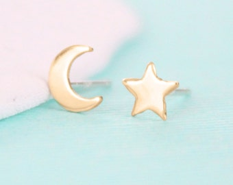 Celestial Star and Moon Earrings - Mix n' Match - Gold or Silver Stud Earrings