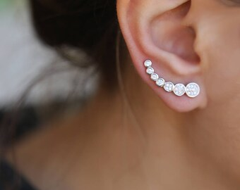 Climber earrings,Silver ear climber, ear crawler, ear climbers, Sterling Silver ear cuff Ear Climbers Constellation Crawler Earrings