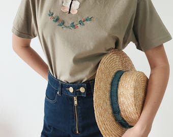 Pastel flowers hand embroidered t-shirt, Women's khaki floral embroidery tee