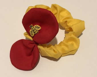 Winnie the Pooh inspired scrunchie with mouse ears - Disney inspired, everyday wear. Elasticated hairbands.