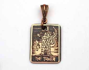 Copper tarot card pendant, small flat rectangular etched Tower, 25mm