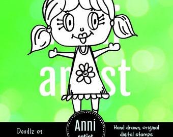 Doodlz 01: Digital Stamp Instant Download - Suitable for Paper Crafts, Scrapbooking, Art Journals