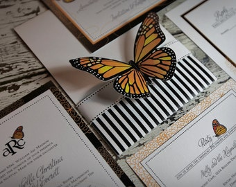 Monarch Butterfly Wedding Invitation Suite (SAMPLE)