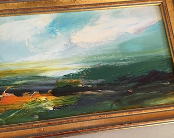 Landscape Study Painting -Original -Abstract Landscape Small Art -5-1/2 x 8 approx. including frame- Ready to Hang