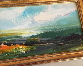 Studie Landschaft Malerei - Original - abstrakte Landschaft Kleinkunst -5-1/2 x 8 ca. inklusive Rahmen-fertig zum Aufhängen
