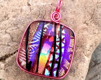 SALE Translucent Pink Wire Wrapped Dichroic Glass Pendant  Wire Wrapped- Studio Clearance