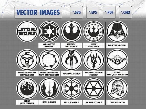 Star Wars Symbols And Logo Darth Vader Yoda Chewbacca