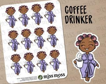 Brown Skin Coffee Drinker Robe Lazy Day Planner Stickers, African American Black - Erin Condren, Happy Planner, Kikki K, Filofax, Decorative