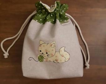 Kitten medium knitting project bag, cat drawstring bag, cat crochet project bag, sock project drawstring pouch, cat knitting bag