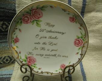 Golden Anniversary Plate 50th Wedding Celebration Gift Wedding Anniversary Gift Free Shipping