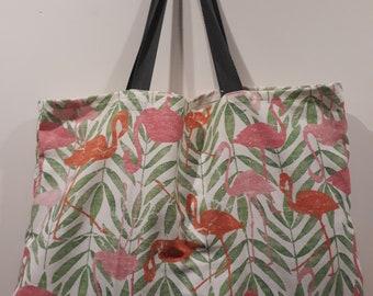 Tropical flamingo print tea towel tote bag