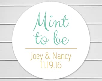 Mint To Be, Wedding Favor Sticker, Wedding Stickers, Wedding labels (#169)