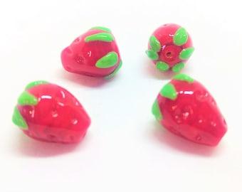 4 Red Strawberry Lampwork Glass Beads Jewelry Supplies -