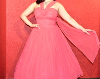 1950s Stunning Pink Chiffon Party Dress Shelf Bust Rhinestones VLV