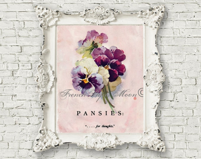 Digital Vintage Purple Pansies, Old Fashioned Heirloom Cottage Flowers, Shabby Chic Digital Download, Pansy Pillow Transfer