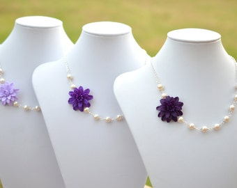 FREE EARRINGS Deep Purple Dahlia Necklace, Lilac  Flower necklace, Purple Necklace, Purple Bridesmaid Necklace