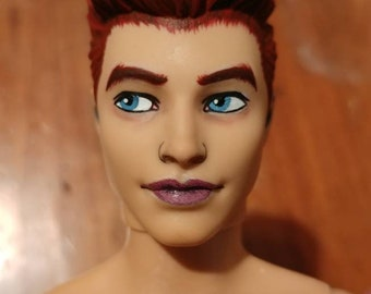 Repainted Ken doll, Fashionista 2015 face mold, probably the Denim Blue version.