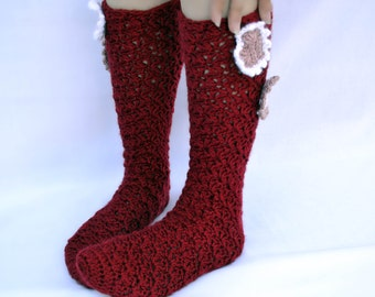 Cranberry hearts crochet slipper socks
