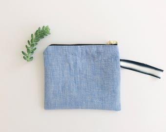 Linen Zip Pouch - Blue/Black/B&W
