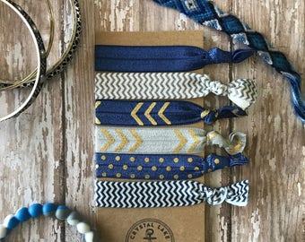 6 Trendy Soft Elastic Hair Ties No Crease Navy Blue Gold Chevron Bracelet Yoga Wristband