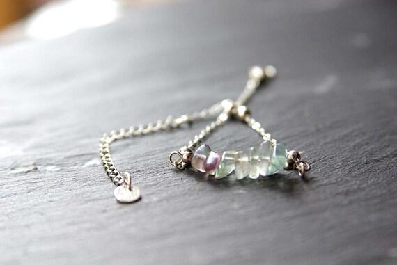 Fluorite Bar Bracelet or Anklet 925 Sterling Silver, Zodiac birthstone Bracelet, Fluorite jewelry, Fluorite Beads Anklet Gift for Her