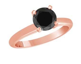 Fancy Black Diamond Solitaire Engagement Ring 14k Rose Gold 1.05 Carat Certified handmade