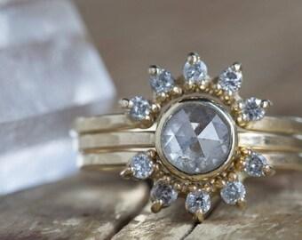 Natural Grey Round Rose-Cut Diamond Ring