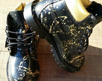 Black and Gold 24K Timberland Boots- Custom Timberlands- Mens- Womens- Kids Timberlands