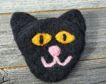 Needle Felted Black Cat Pin