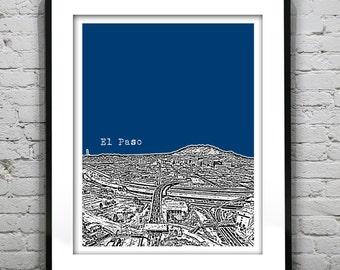 20% OFF Memorial Day Sale - El Paso Texas Santa Fe Bridge from Juarez Mexico Poster Art Print TX Skyline
