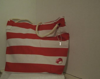 Summery red and white striped tote with rope handle and applique bird