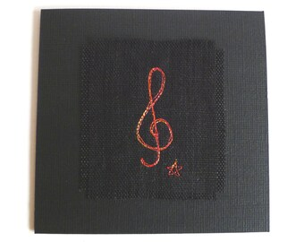 Embroidered card for music lover, music teacher or music student. Treble clef design. Blank card for birthday, a thank you, or note card.