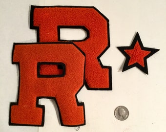 "Vintage Letterman Patches ""R"" college Red Letters with Star, All Three, Ca: 1950s."
