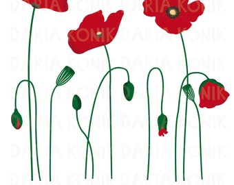 Watercolor poppies clipart commercial use poppies clip art set flower clipart botanical floral clipart eps png mightylinksfo