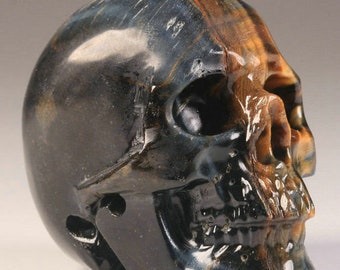 """2.0"""" Gorgeous Blue and Gold Tigers Eye Carved Crystal Skull"""