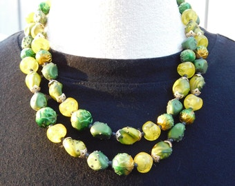 Gorgeous Shades of Green Vintage Beaded Necklace
