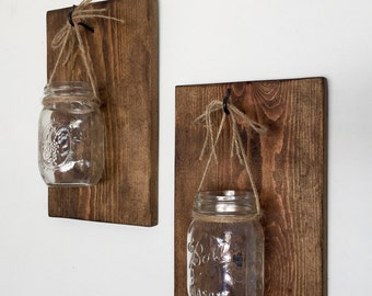 Mason Jar Wall Sconce, Wooden Wall Sconce, Farmhouse Decor, Rustic Decor, Farmhouse Sconce